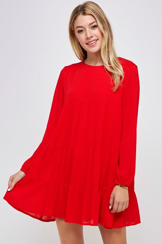 Tiered Pleated Red Dress