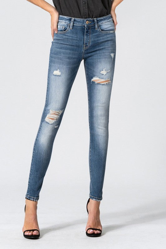 World Wide Distressed Ankle Skinny Jeans