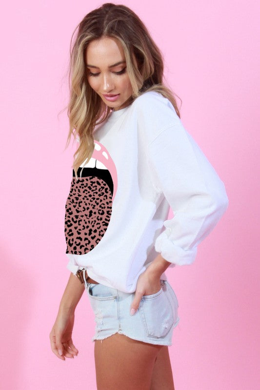 Miss Pinky Leopard Tongue Pullover