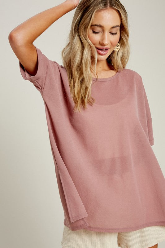 Side Slit Crew Neck Top (2 Colors)