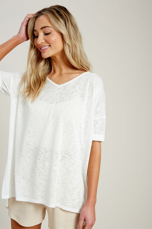 V Neck Side Slit Tee (2 Colors)