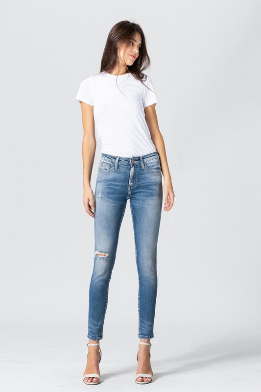 Mid Rise Distressed Ankle Skinny Jeans -Flying Monkey