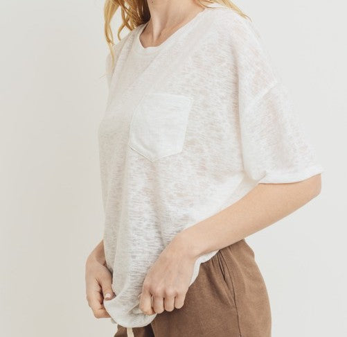 Crew Slub Knit Boxy Top (2 Colors)