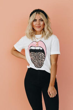 Miss Pinky Leopard Tongue Tee