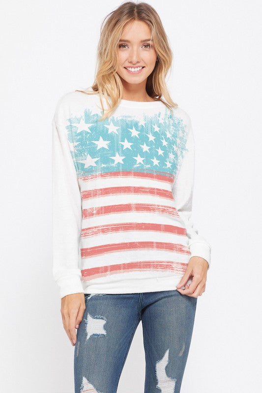 American Flag Pullover
