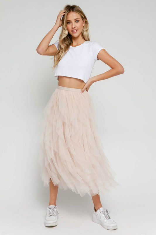 Tulle Ruffled Skirt