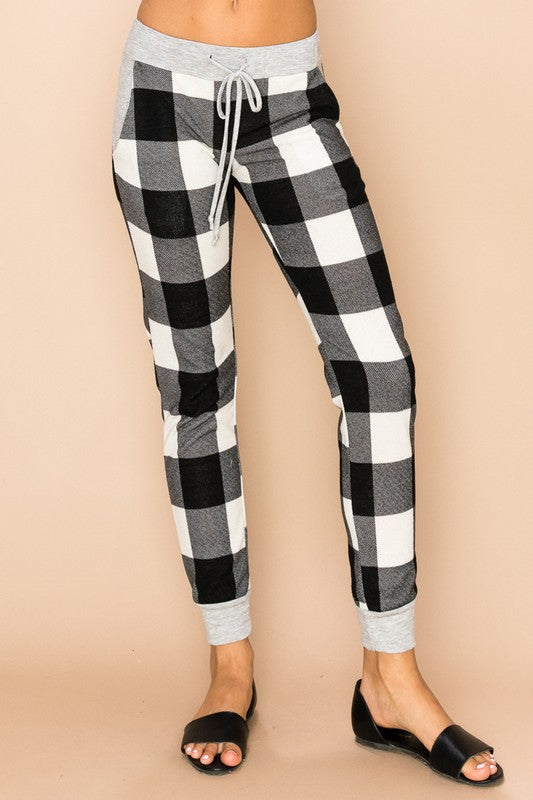 Buffalo Checkered Joggers Grey Cuff (2 Colors)