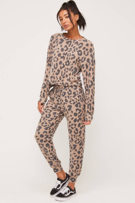 Brushed Leopard Joggers (2 Colors)