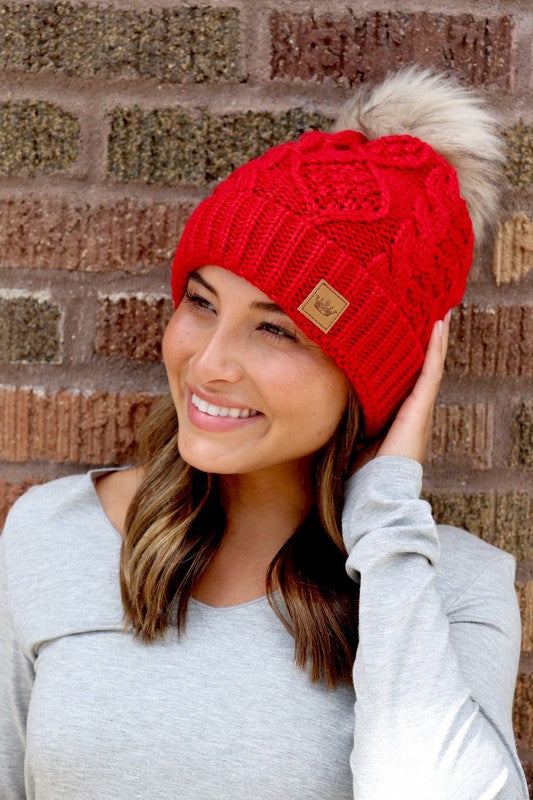 Red Cable Knit Pom Beanie