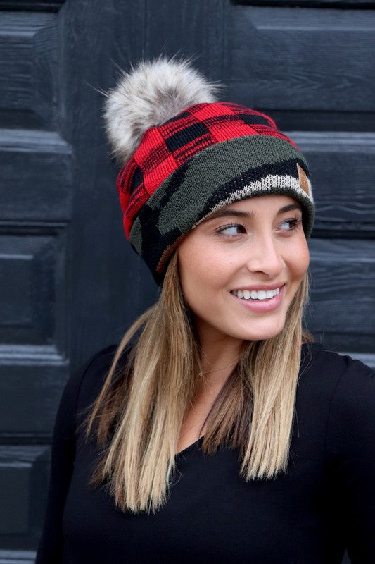 PREORDER Buffalo Checkered Camo Cuff Pom Beanie