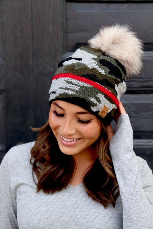 Camo Faux Fur Pom Beanie with Red Stripe