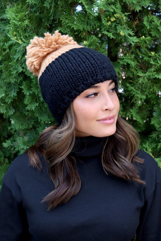 Color Block Pom Beanie (5 Colors)