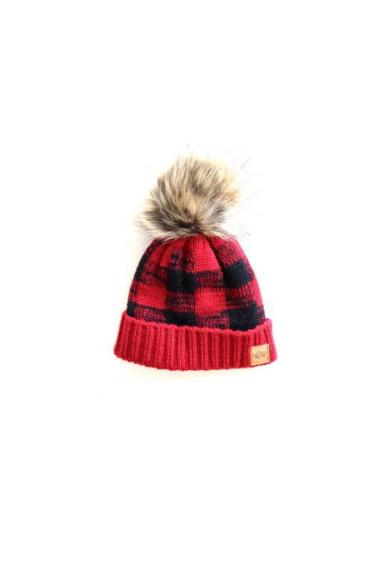 Kids Buffalo Plaid Beanie