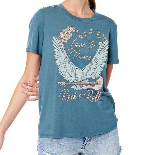 Love & Peace and Rock & Roll Tee