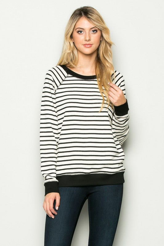 Black White Striped Pullover
