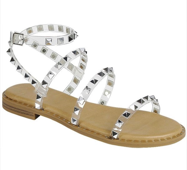 PREORDER Clearly Studded Sandal (Tan)