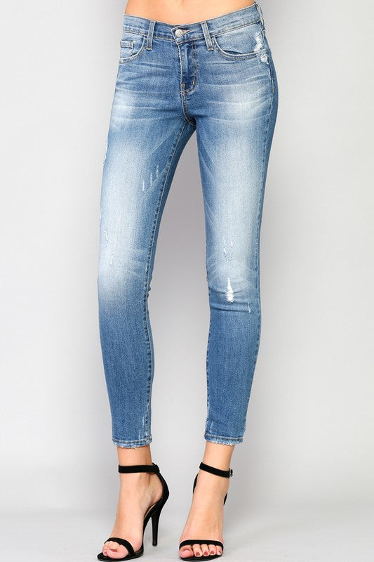 Light Distressed Skinny Jeans -Flying Monkey