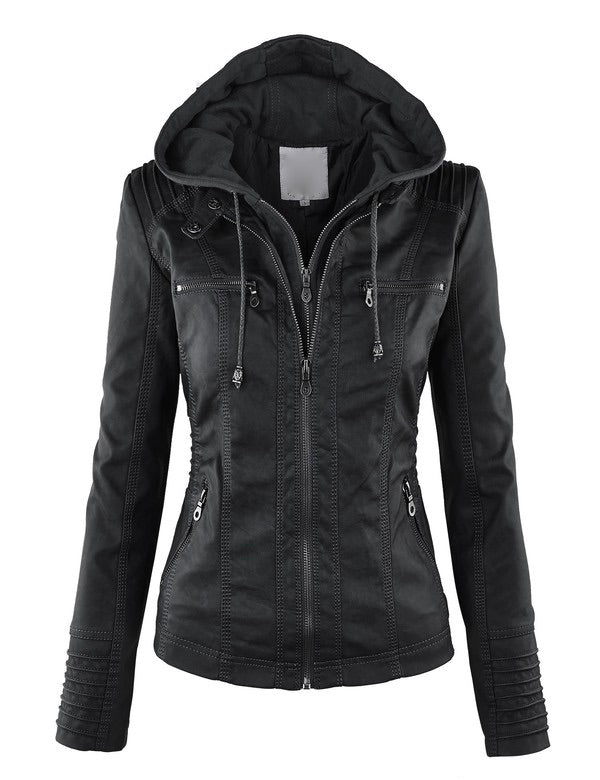 Faux Leather Moto Hooded Jacket (2 Colors)