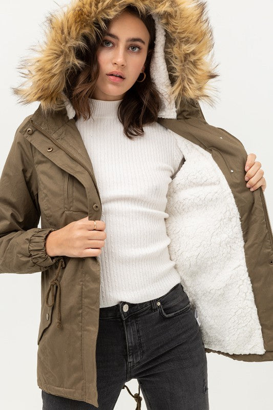 Sherpa Lined Fur Hooded Coat