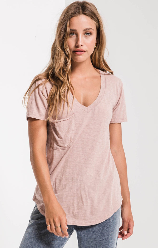 Cotton Slub V Neck Pocket Tee (2 Colors)