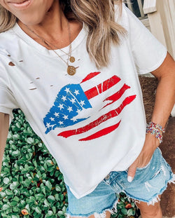 American Kiss Distressed Tee