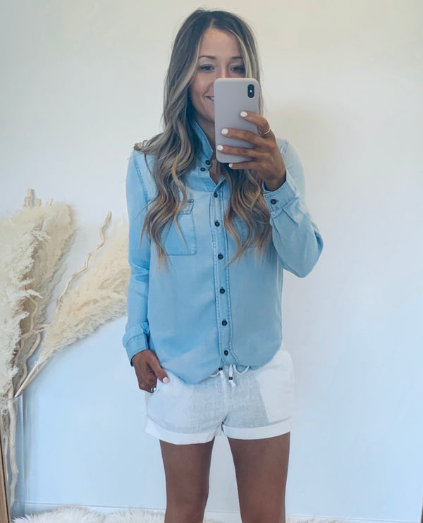 Chambray Button Down Top (2 Colors)
