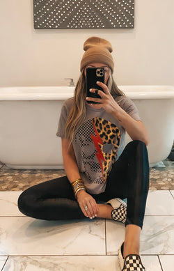Checkered Leopard Distressed Skull Tee (2 Colors)