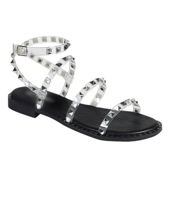 Clearly Studded Sandal (Black)