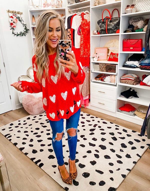 Distressed Hearts Sweater (2 Colors)