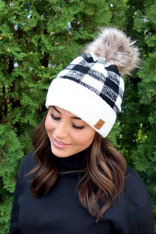 Black/White Buffalo Plaid Beanie