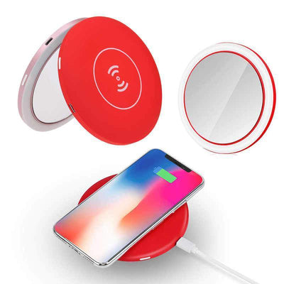 Makeup Mirror with Lights Red Wireless Charger LED Makeup Mirror with Lights