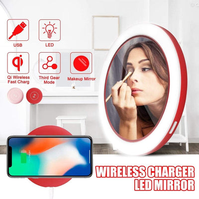Makeup Mirror with Lights Wireless Charger LED Makeup Mirror with Lights