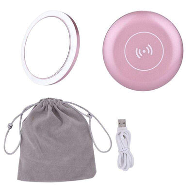 Makeup Tools Pink Wireless Charger LED Makeup Mirror with Lights