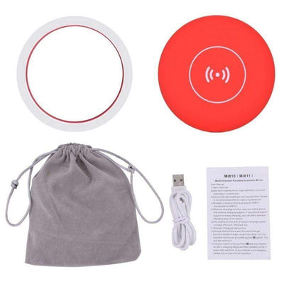 Makeup Tools Red Wireless Charger LED Makeup Mirror with Lights