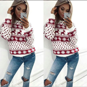 Lady Jumper Sweater Pullover Tops Coat Christmas
