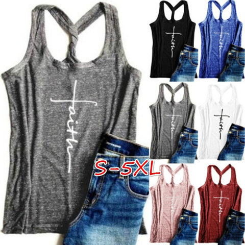 Faith Print Loose Tank Top -  Gym Shirts Online