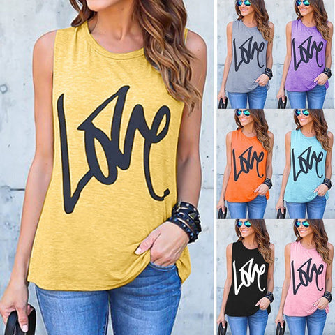 LOVE Printed Tank Top -  Gym Shirts Online
