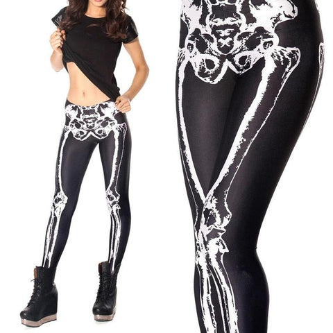 Skeleton Skull Printed Leggings -  Gym Shirts Online