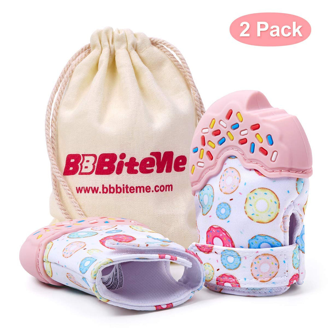 BBBiteMe Baby Teething Mitten, BPA Free Silicone Soft self Soothing chew teether Donuts Infant Newborn Teething Toys with a Cotton Bag for Girls Babies 3 Months 2 Pack