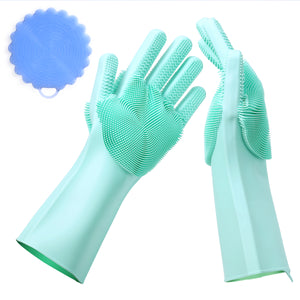 Valourgo Silicone Washing Gloves BPA free Reusable Silicone Cleaning Gloves Sponge Brush to Clean with Not Sticky Hands, to Protect Hands Used for Kitchen/Bathroom/ Pets/Sanitary Cleaning