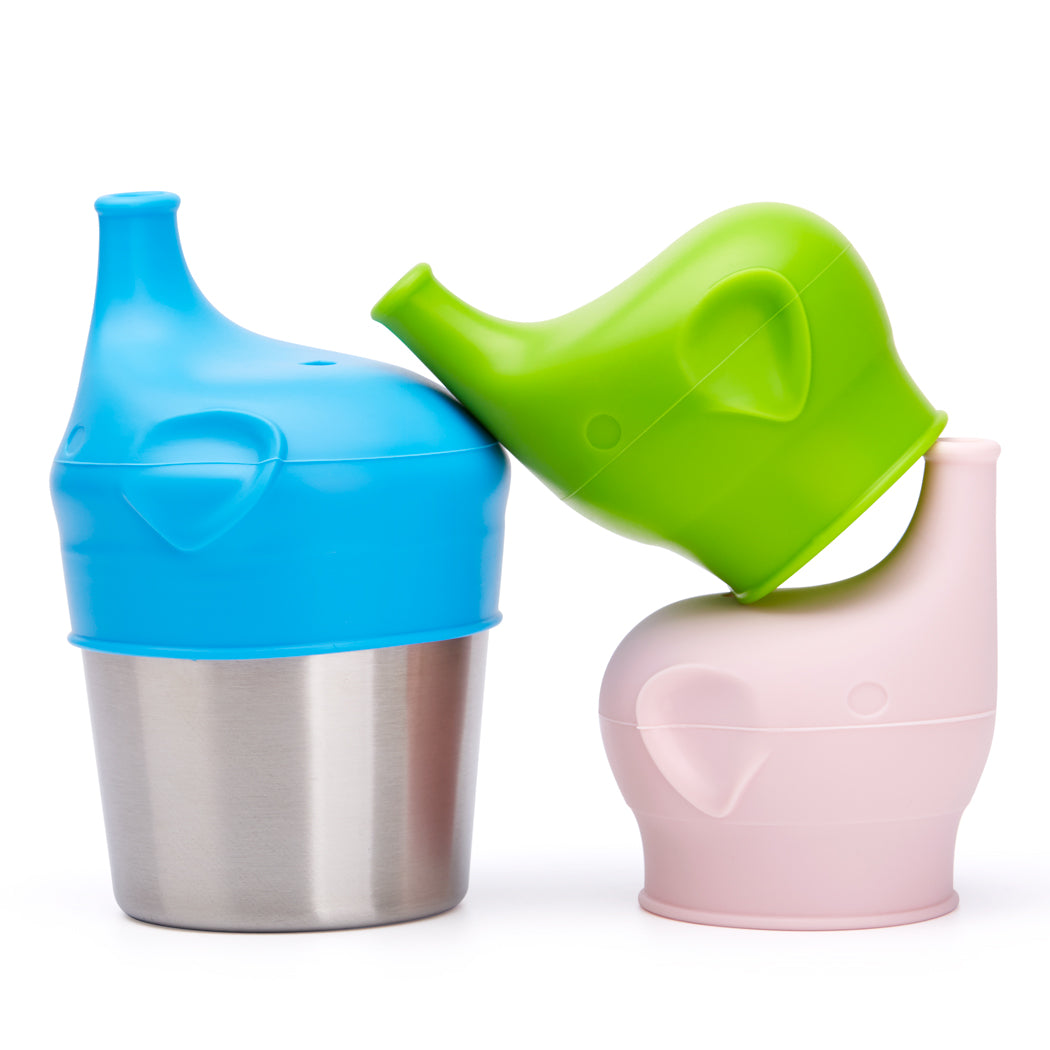 BBBiteme Baby Sippy Cup Lids - Spill Proof BPA Free Elephant Baby Universal Sipper Silicone Toddlers Sippy Lids Fit Any Cups(3 Replacement Silicone lids and 1 Stainless Steel Cup)