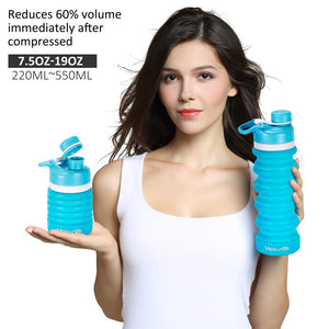 Valourgo BPA Free Collapsible Sports Water Bottle - Reusable for Gym Bike Running Cycling