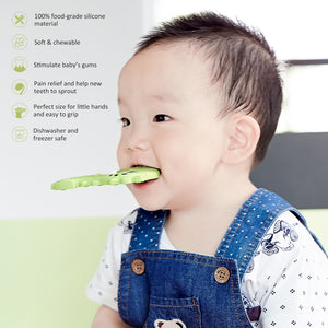 BBBiteMe Dinosaur Baby Teether - BPA Free Silicone Teething Toy with Storage Case for Toddlers & Infants (Green)