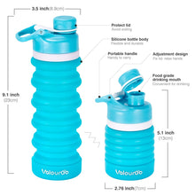 Load image into Gallery viewer, Valourgo BPA Free Collapsible Sports Water Bottle - Reusable for Gym Bike Running Cycling