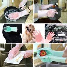 Load image into Gallery viewer, Valourgo Silicone Washing Gloves BPA free Reusable Silicone Cleaning Gloves Sponge Brush to Clean with Not Sticky Hands, to Protect Hands Used for Kitchen/Bathroom/ Pets/Sanitary Cleaning