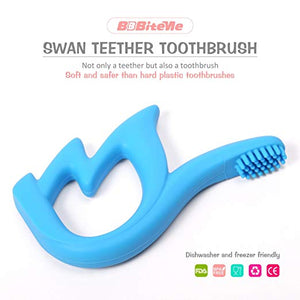 Baby Swan Teether and Infant Training Toothbrush, BPA Free, 100% Food Grade Soft Silicone Teether Toys