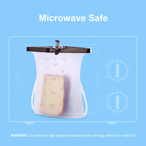 Valourgo leakproof reusable sandwich bags, dishwasher safe sous vide bag silicone food storage bag reusable snack bags