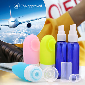 ValourGo Leak Proof 2 OZ BPA Free Travel Bottles Set- 3 Silicone Squeezable Travel Containers with 2 Plastic Travel Bottles Spray bottle and Pump Bottle for Toiletries