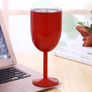 10oz Glass Wine Goblets Stainless Steel