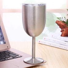 Load image into Gallery viewer, 10oz Glass Wine Goblets Stainless Steel